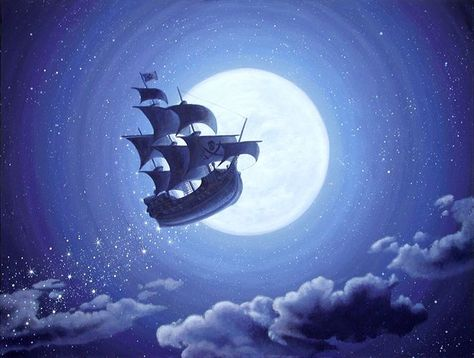 The Jolly Roger, Peter Pan. Acrylic on canvas by Timna Woollard Disney Aesthetic, Jolly Roger, Painting, Disney Wallpaper, Disney Art, Art, Peter Pan Painting, Ship Silhouette, Ship Drawing