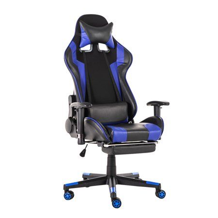 Insma Gaming Chair High Back Office Computer Chair Ergonomic Design Racing Chair With Footrest Adjustable Armrests Headrest Lumbar Support Walmart Com Gaming Chair Leather Chair Chair