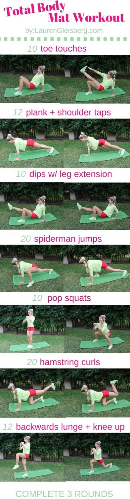 Total Body Home Workout by LaurenGleisberg.com   click image for the 12 week home workout plan