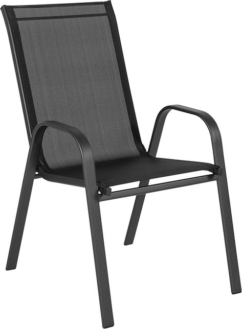 Brazos Black Outdoor Stack Chair In