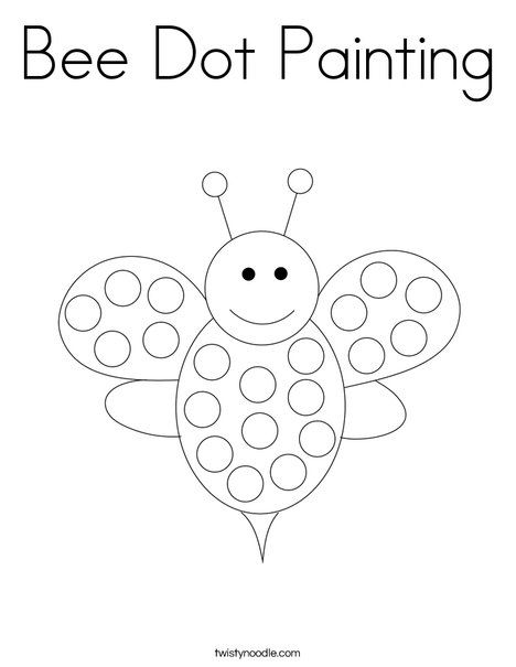 Bee Dot Painting Coloring Page Twisty Noodle Bee Coloring Pages Dot Painting Insect Coloring Pages