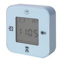 Klockis クロッキス 時計 温度計 アラーム タイマー ライトブルー Ikea 時計 タイマー 時計