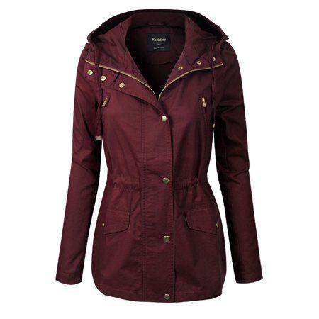 MixMatchy Womens Lightweight Front Zipper Solid Utility Anorak Hoodie Vest//Jacket