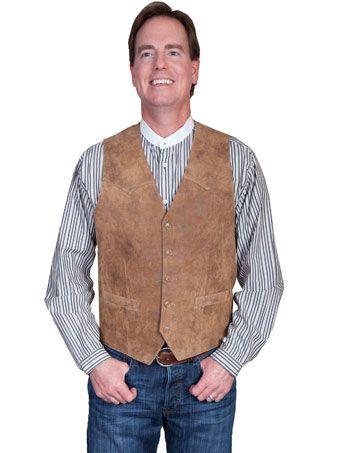 New Men/'s Suede Snap Front Western Cowboy  Rodeo Dress Vest Bourbon