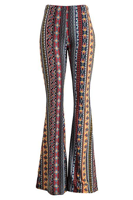 bottom price usa cheap sale new release Fashionomics Womens Boho Comfy Stretchy Bell Bottom Flare ...