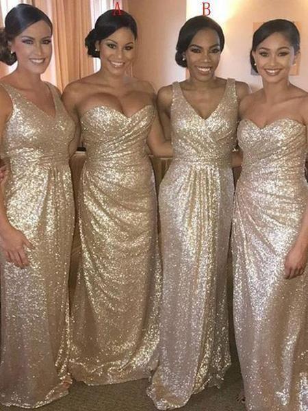 Sequin Long Bridesmaid Dresses, Cheap