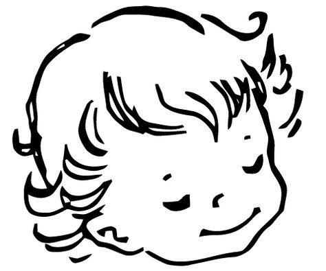 Line Art Baby : Free vector art baby face vintage black white clip
