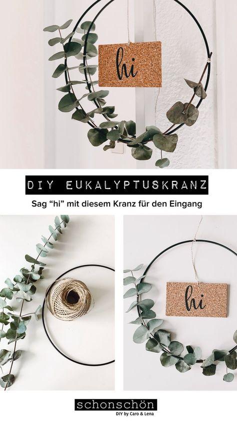 Eukalyptus ist unser absoluter Liebling wenn es um DIYs geht. Warum? Weil Eukalyptus 1. wunderschön aussieht und 2. getrocknet auch noch genauso wunderschön aussieht. Da wir Kork lieben, haben wir uns beim Material für den Schriftzug für Kork entschieden. Wir lieben die Kombi aus Eukalyptus, schwarzem Metall und Kork 😍