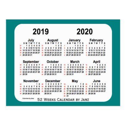 2019 2020 Teal 52 Weeks Calendar By Janz Postcard Cards