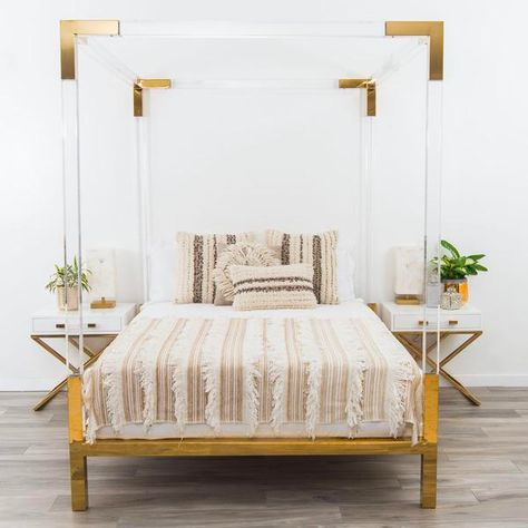 Horchow Hayworth Golden Acrylic Bed With Images Unique