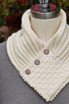 Knit Neck Warmer- think this would be cute modified for crochet with a granny square as the center. Knit Neck Warmer- think this would be cute modified for crochet with a granny square as the center.