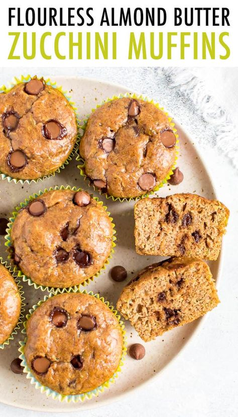 These veggie packed FLOURLESS ZUCCHINI MUFFINS are made with almond butter and sweetened with maple syrup. Gluten-free and perfect breakfast or snacking. #flourless #healthyrecipe #muffins #zucchinimuffins #zucchini #chocolatechip #almondbutter #glutenfree