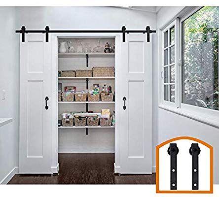 Amazon Com Zekoo 9 Ft Antique Style Sliding Barn Door Hardware Kit Double Building Home Impr Double Doors Interior Barn Style Doors Double Sliding Barn Doors
