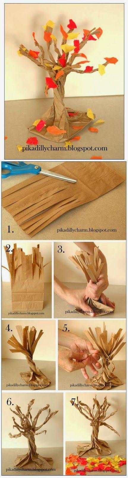 herbstbaum aus einer papiertüte