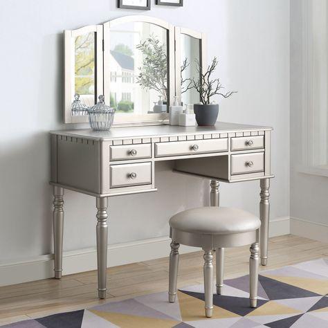 Acme 90366 Corbulo Silver Wood Finish 3 Piece Vanity Desk Set