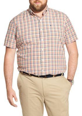 Izod Men's Big & Tall Breeze Plaid Short Sleeve Button Down Shirt - Red Clay - 2Xlt