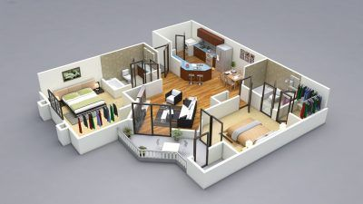 2 Bedroom House Plans Designs 3d Diagonal Living Room Planner Two Bedroom House Design 2 Bedroom House Plans