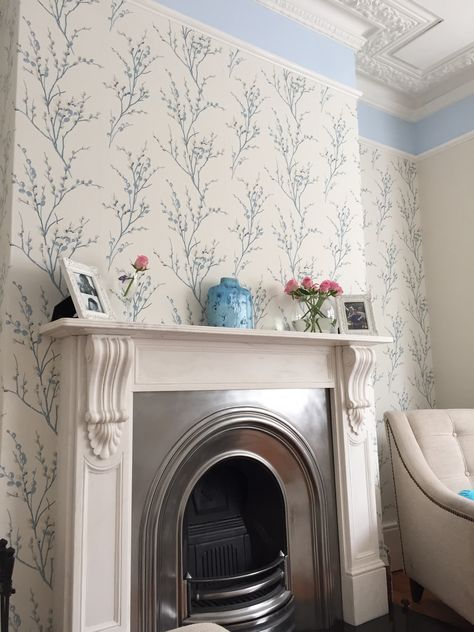 Handmade Lampshade with Laura Ashley Pussy Willow Off White Seaspray Wallpaper