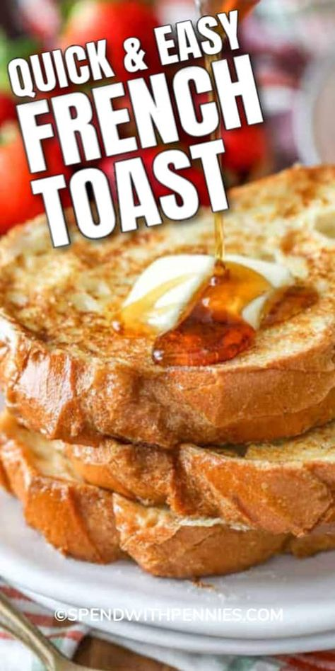 There's nothing like a weekend morning breakfast of fluffy French toast! This easy French toast recipe will definitely up your breakfast game and bring everyone to the table! #spendwithpennies #frenchtoast #brunchrecipe #easyrecipe #eggsandbread #breakfast Breakfast Dishes, Breakfast Recipes, Breakfast Ideas, Savarin, Brunch Recipes, Dinner Recipes, Allrecipes, Cooking Recipes, Cleaning Recipes