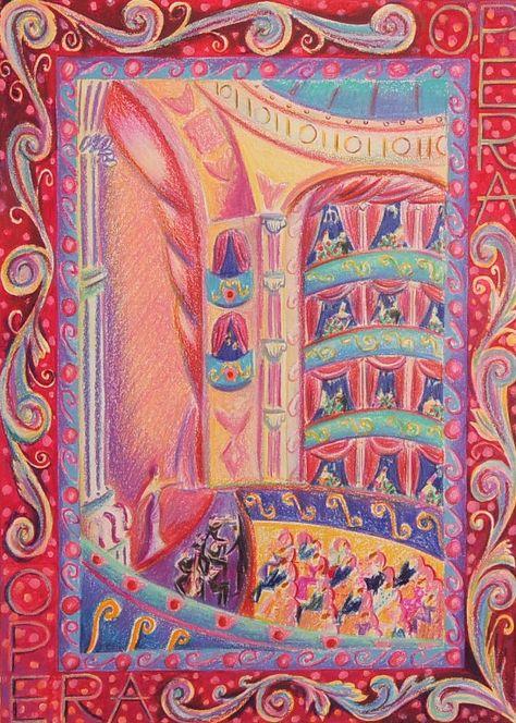 Ilustración pastel original de ópera por Anna Baker.