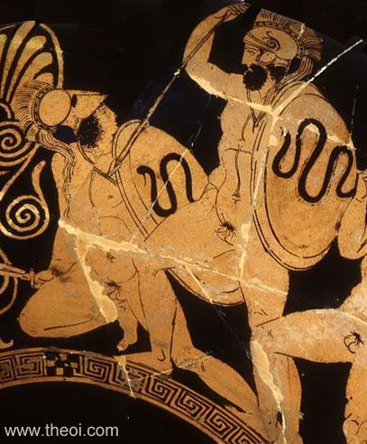 Ares battling the giant Mimon   Greek vase  Signed by Aristophanes Date: ca 410 - 400 BC Period: Classical  SUMMARY  Detail of Ares battling the Gigante Mimon from a painting of the Gigantomakhia (War of the Giants). The god strikes down the beardless giant with his sword. both combatants bear serpent-decorated shields.