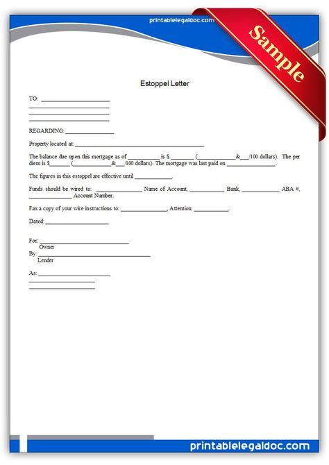 Free Printable Estoppel Letter Form Generic Letter Form