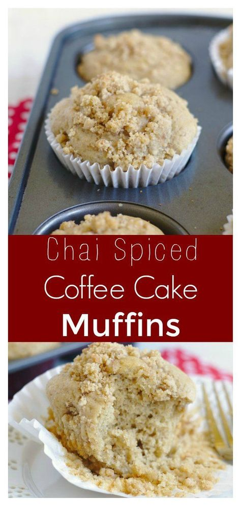 #ad Chai Coffee Cake Muffins - A flavorful spin on a classic breakfast favorite.... - #breakfast #classic #coffee #favorite #flavorful #muffins - #DessertBread
