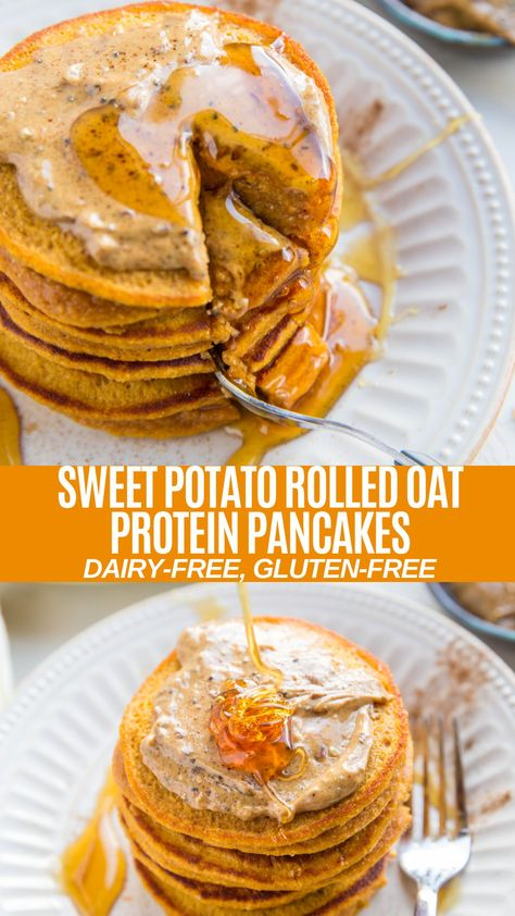 Sweet Potato Rolled Oat Protein Pancakes Gluten-Free Sweet Potato Protein Pancakes made with rolled oats in the blender! An easy, healthy breakfast recipe! Sweet Potato Rolls, Sweet Potato Protein, Sweet Potato Breakfast, Vegan Sweet Potato Pancakes, Sweet Potato Stuffing Recipe, Sweet Potato Mash, Sweet Potato Quesadilla, Sweet Potato Dinner, Pancakes Easy