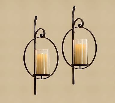 Set of 2 Contemporary Black Circular Candle Wall Sconces w// Hurricane Holders