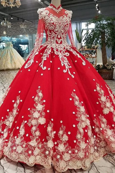 Red Quinceanera Dress Long Sleeves Applique Prom Dress Ball Gown OP437 – ombreprom.co.uk #redballgown #quinceaneradresses #princesspromdresses #vintagepromdresses #weddinggowns