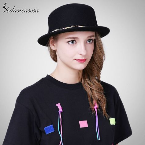 38c76015633 Female Boater Hat Bucket Hats Australian Wool Full Handmade Weave Rope  Small Brim Fedora Hats for