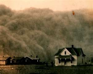 Dust Bowl. Agricultural practices combined with drought to cause these horrible dust storms
