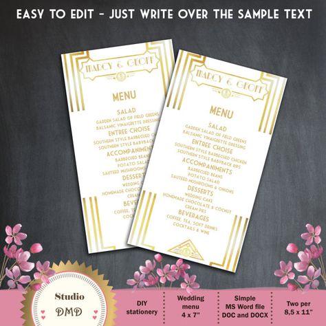 Editable wedding invitation template Great gatsby wedding
