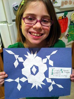 Noahs Ark Homeschool Academy: Life of Fred Math  Pattern Block Snowflakes!