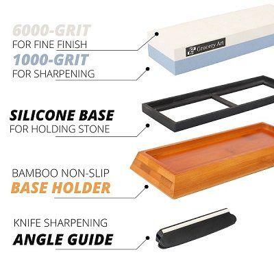 Premium Whetstone Knife Sharpener 2 Sided Grit 1000 6000