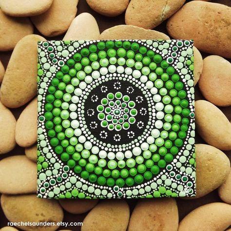 Wald-Kunst, kleine Original Aboriginal Kunst Dot Painting, Acryl auf Leinwand Brett, grün Dekor, Wald, 10 cm x 10 cm
