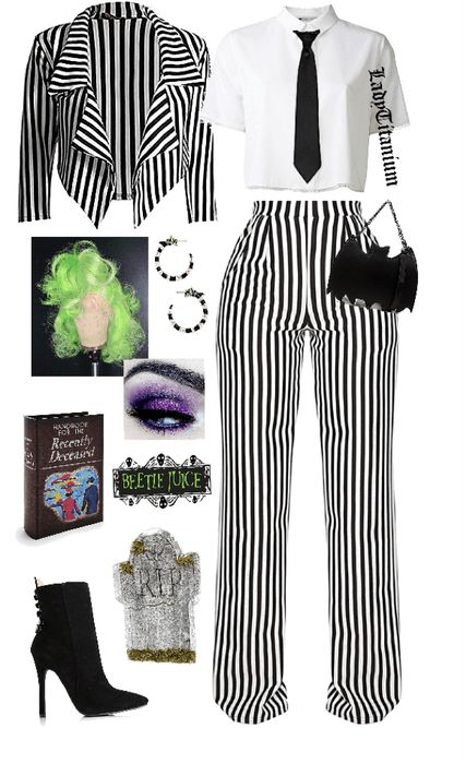 DIY Beetlejuice Costume Outfit - Real Time - Diet, Exercise, Fitness, Finance You for Healthy articles ideas Beetlejuice Halloween Costume, Group Halloween Costumes, Halloween Cosplay, Halloween Outfits, Jigsaw Halloween Costume, Beatle Juice Costume, Beetle Juice Costume Female, Costumes For Women, Halloween Parties