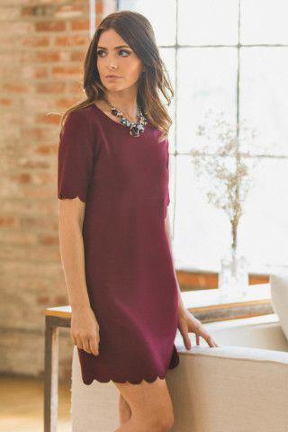 Sally Burgundy Scallop Dress – Morning Lavender