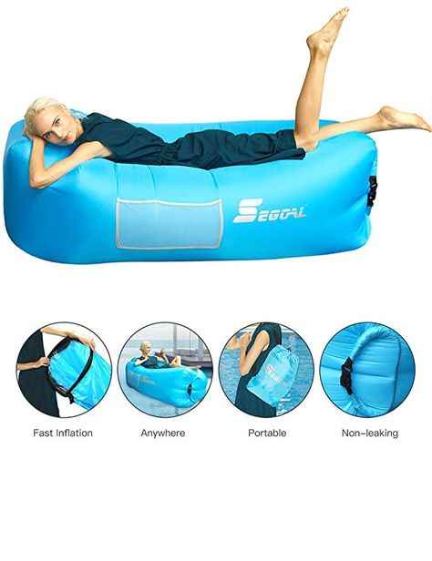 Camping,Pool and Beach iRegro Inflatable lounger Waterproof inflatable Sofa with Storage Bag Air Sofa lounger Hammock with Headrest Inflatable Couch Fit for Travelling