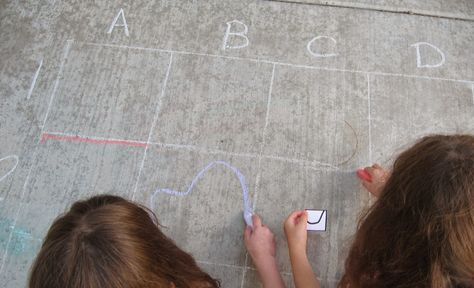 Almost Unschoolers: Summer Fun 2014 - Sidewalk Chalk Grid Drawing Puzzle Race