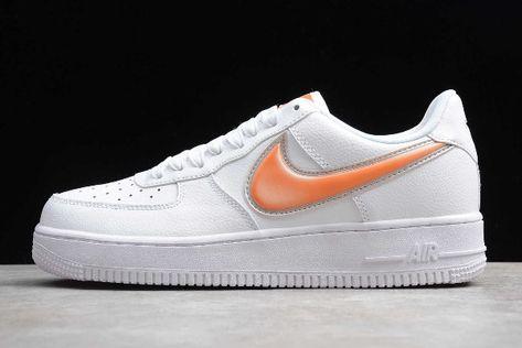 2019 Nike Air Force 1 Low Oversized Swoosh White Orange Peel