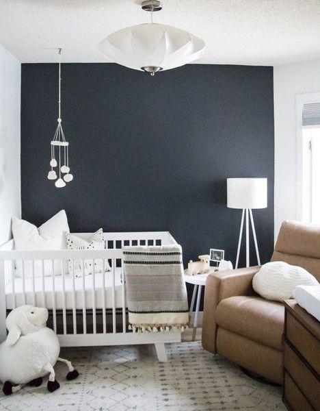 Paint one wall a solid, dark color - Modern Nursery Inspiration  - Photos
