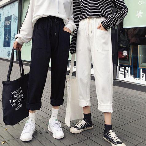 Pants - HIT BLACK WHITE FREE PANTS HARAJUKU