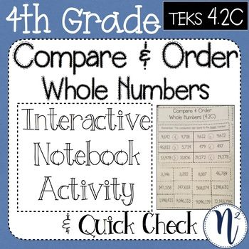 Compare And Order Whole Numbers Interactive Notebook Quick
