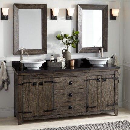 72 Kane Vessel Sink Double Vanity Rustic Gray Double Sink Bathroom Vanity Rustic Bathroom Lighting Vanity Sink