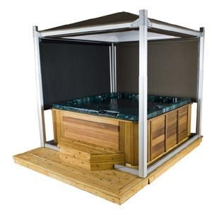 Hot Tub Privacy Ideas | Automatic Hot Tub Cover Doubles As Canopy And  Privacy Screen « Luxury ... | Hot Tub Privacy | Pinterest | Hot Tub  Privacy, Tub Cover ...