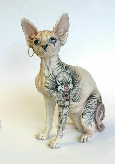 Cool Scary Cat In 2020 Sphynx Cat Tattoo Scary Cat Hairless Cat