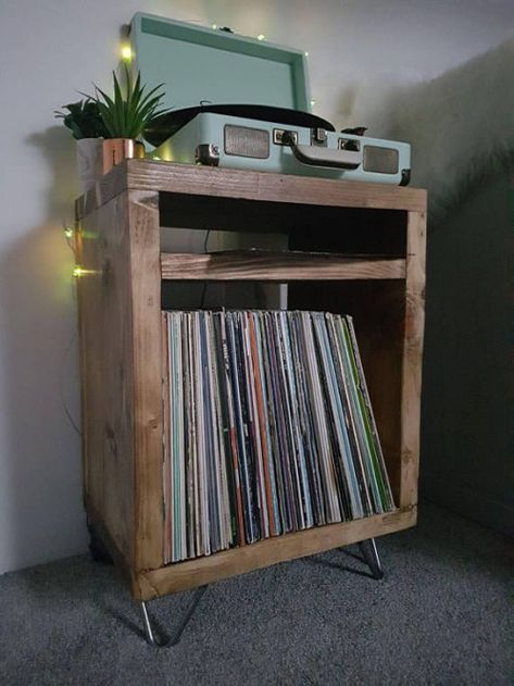 This item is unavailable Rustic Industrial Hairpin leg Scaffold board Record Player<br> Record Player Furniture, Record Player Table, Record Players, Record Stand, Reclaimed Furniture, Diy Furniture, Furniture Vintage, Industrial Furniture, Furniture Design