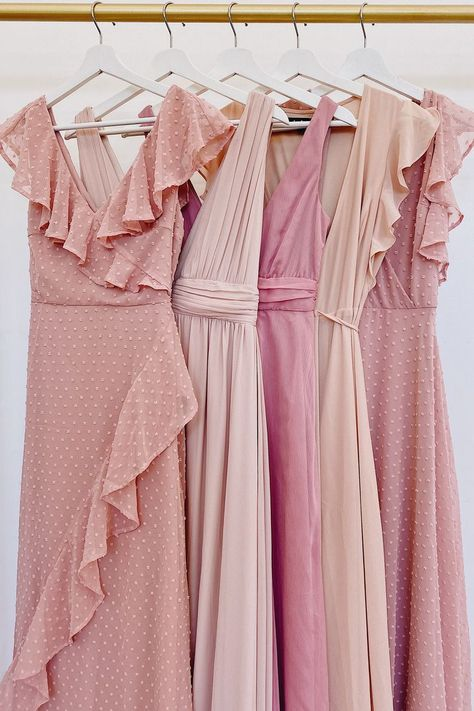 Gorgeous blush bridesmaid dresses that the entire bridal party will love! Mix and match these blush bridesmaid dresses for the perfect look!