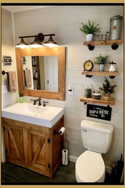 24 Wonderful Small Farmhouse Bathroom Decor Ideas And Remodel. If you are looking for Small Farmhouse Bathroom Decor Ideas And Remodel, You come to the right place. Here are the Small Farmhouse Bathr. Outhouse Bathroom Decor, Rustic Bathroom Mirrors, Bathroom Small, Minimal Bathroom, Dyi Bathroom, Small Country Bathrooms, Farmhouse Bathrooms, Bathroom Canvas, Bathroom Laundry